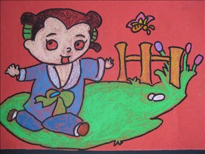 儿童绘画图雪景展示